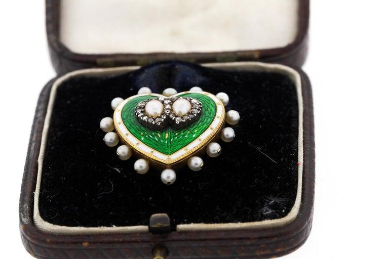 Rose Cut Antique 18 Karat Green and White Enamel Pearl Diamond Heart Pin Pendant For Sale