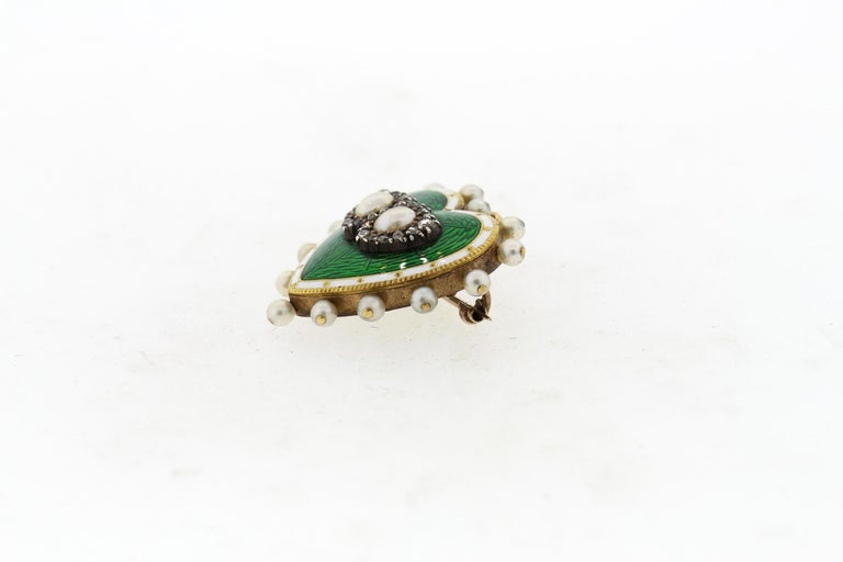 Antique 18 Karat Green and White Enamel Pearl Diamond Heart Pin Pendant In Good Condition For Sale In New York, NY