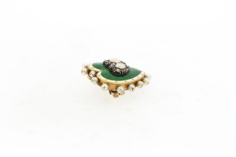 Women's or Men's Antique 18 Karat Green and White Enamel Pearl Diamond Heart Pin Pendant For Sale
