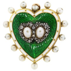 Antique 18 Karat Green and White Enamel Pearl Diamond Heart Pin Pendant