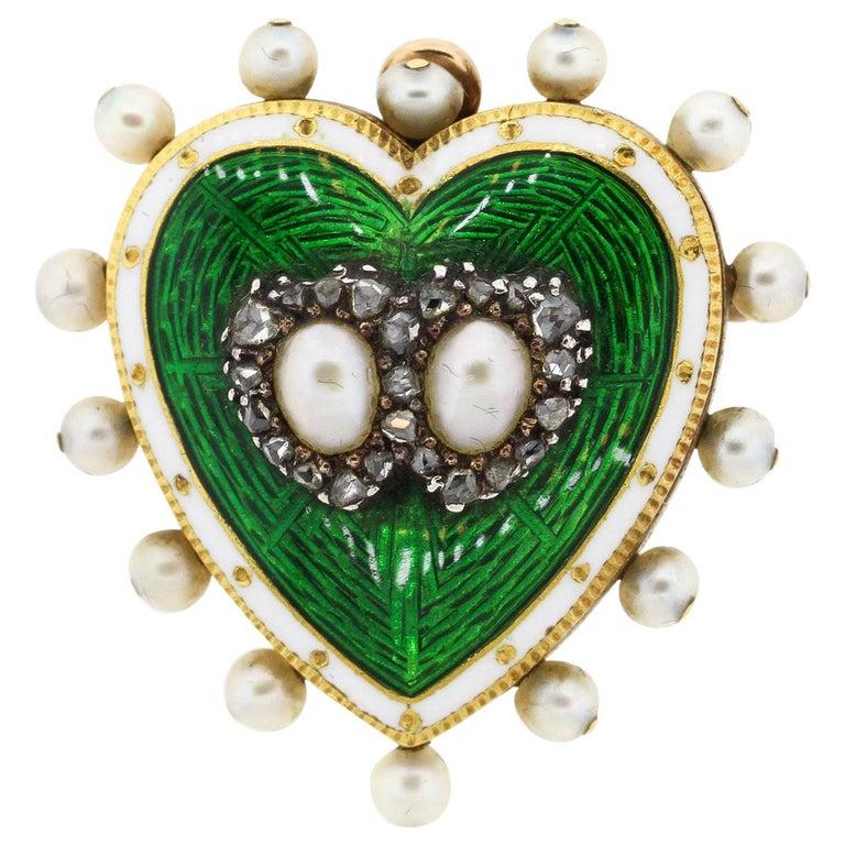 Antique 18 Karat Green and White Enamel Pearl Diamond Heart Pin Pendant For Sale
