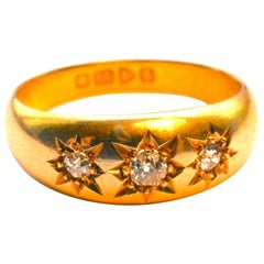Antique 18 Karat Gypsy Ring with Diamonds