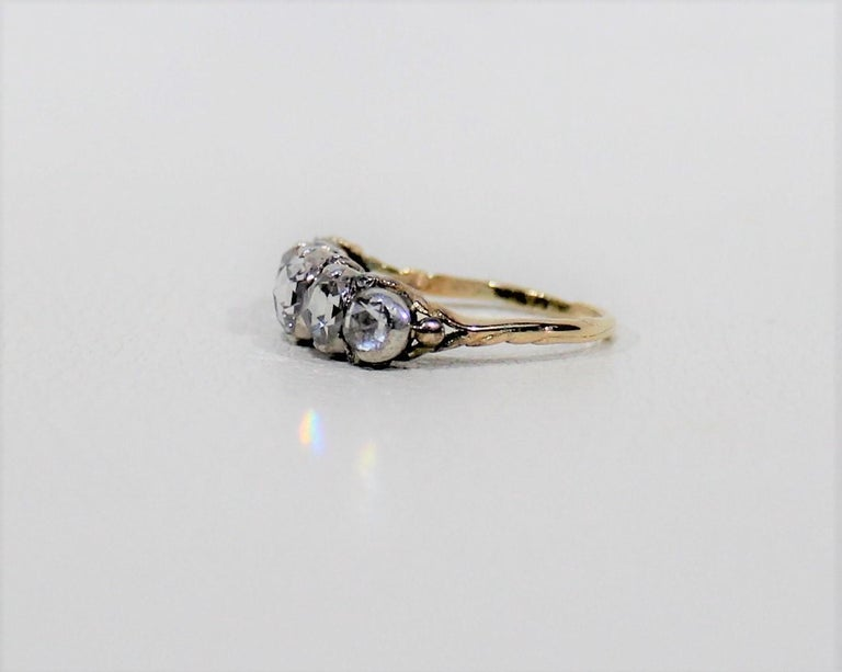 19th Century Antique 18-Karat Ladies Gold and Diamond Ring For Sale