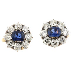 Antique Victorian 18 Karat Old Mine Diamond Sapphire Cluster Earrings