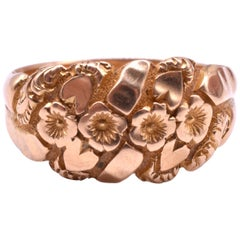 Antique 18 Karat Repousse Flower Ring