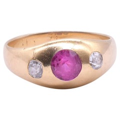 Antique 18 Karat Ruby and Diamond Stirrup Ring, circa 1900