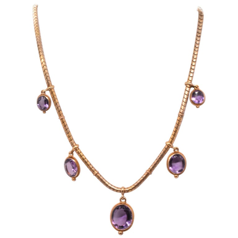 Antique 18 Karat Snake Chain Necklace with Amethyst Drops For Sale