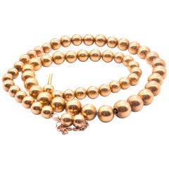 Antique 18 Karat Victorian Gold Beaded Collar, circa 1860