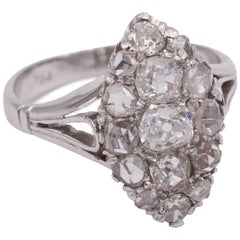 Antique 18 Karat White Gold and Diamond Navette Ring, 1930s