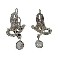 Antique 18 Karat White Gold Diamond Drop Earrings