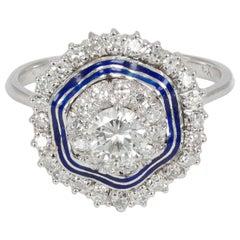 Antique 18 Karat White Gold, Enamel and Diamond Ring, 1940s