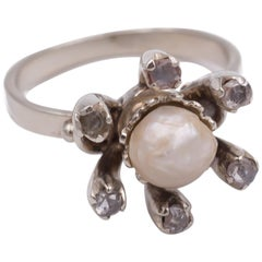 Antique 18 Karat White Gold, Pearl and Diamond Ring, 1930s