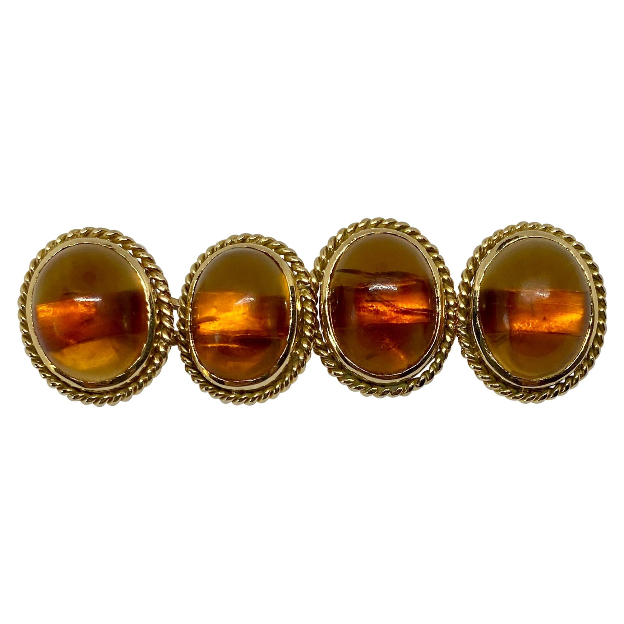 Antique 18 Karat Yellow Gold and Amber Cufflinks