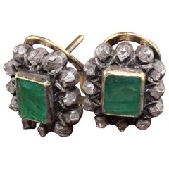 Antique 18 Karat Yellow Gold and Silver Top, Emerald and Diamond Earrings