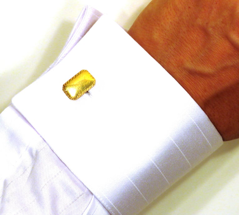 Engraved cufflinks handcrafted in 18k yellow gold. They are marked with the Italian Gold Mark 750  _______________________________________________________________________  Something about Botta Gioielli...  Botta Gioielli is a two generation