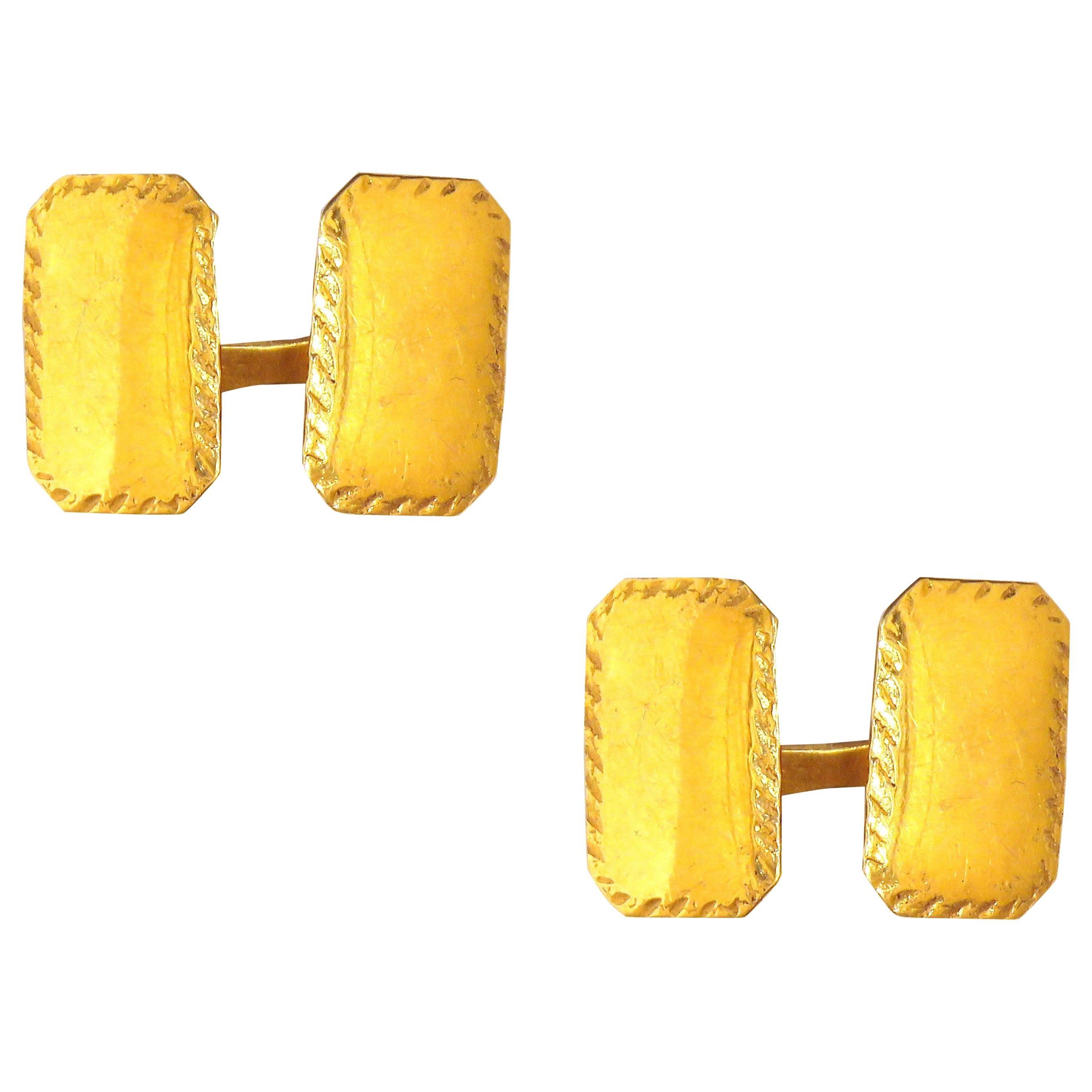 Antique 18 Karat Yellow Gold Cufflinks Handcrafted in Italy