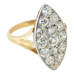 Antique 18 Karat Yellow Gold Diamond Marquise Shape Ring