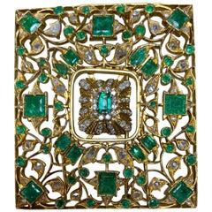 Antique 18 Karat Yellow Gold, Emerald and Diamond Brooch
