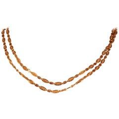 Antique 18 Karat Yellow Gold Long Sautoir Long Gold Necklace 135 cm Long
