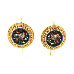 Antique 18 Karat Yellow Gold Micromosaic Earrings