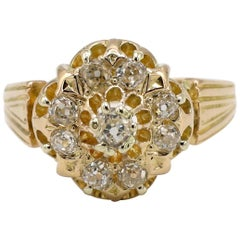 Antique 18 Karat Yellow Gold Old Mine Cut Diamond Cluster Dome Ring