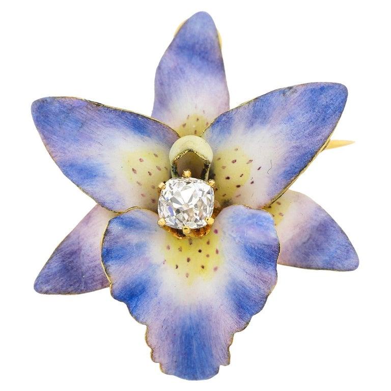 Antique 18 Karat Yellow Gold Purple Enamel Diamond Orchid Brooch For Sale