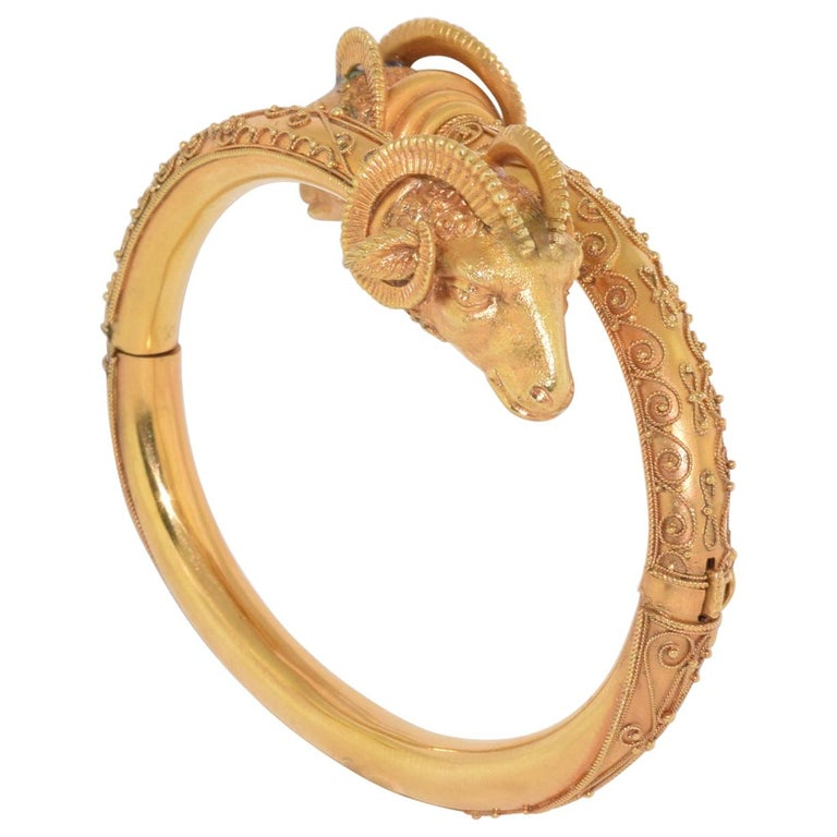 Antique 18 Karat Yellow Gold Rams Head Etruscan Revival Bangle, circa 1880s For Sale