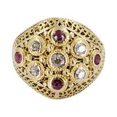 Antique 18 Karat Yellow Gold, Ruby, & Diamond Cluster Ring