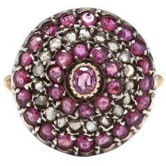 Antique 18 Karat Yellow Gold, Silver, Diamond and Ruby Target Ring
