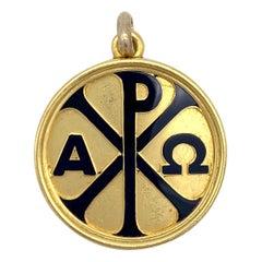 Antique 18 Kt Gold Locket Alpha Omega Christogram Bible Quote 2.Book of Samuel