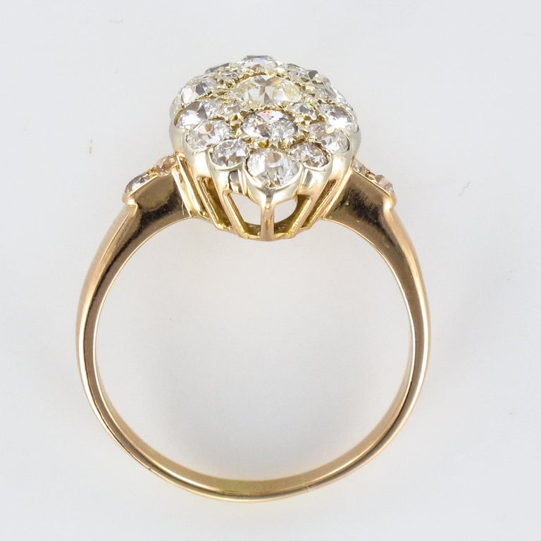 Antique 1.80 Carat Diamonds 18 Karat Yellow White Gold Marquise Ring For Sale 5