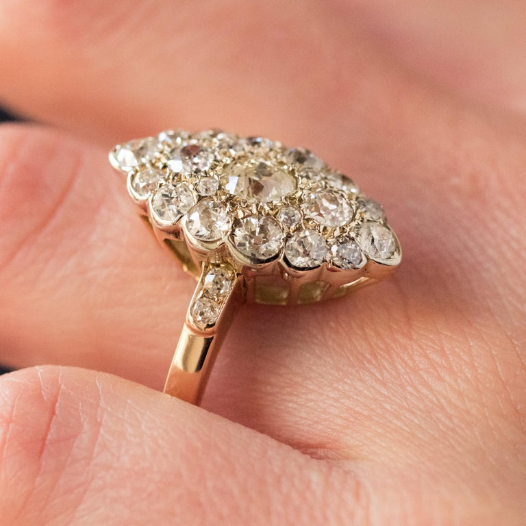 Antique 1.80 Carat Diamonds 18 Karat Yellow White Gold Marquise Ring For Sale 7