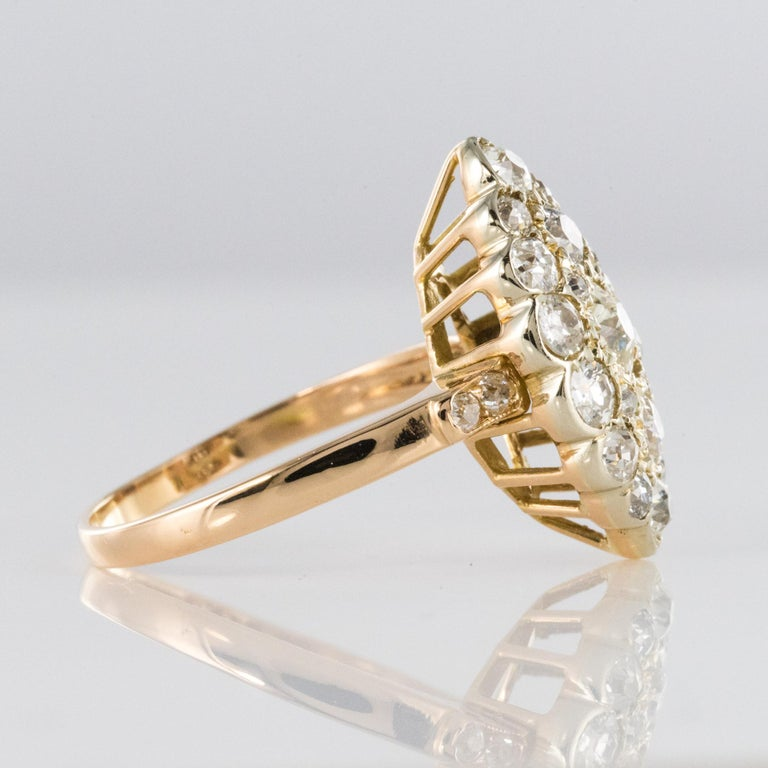 Antique 1.80 Carat Diamonds 18 Karat Yellow White Gold Marquise Ring For Sale 8