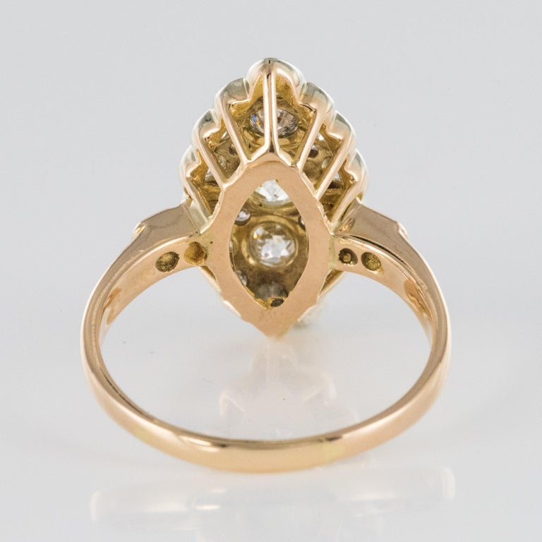 Antique 1.80 Carat Diamonds 18 Karat Yellow White Gold Marquise Ring For Sale 10