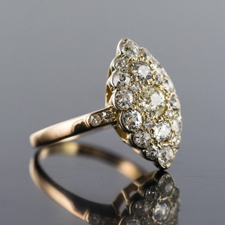 Antique 1.80 Carat Diamonds 18 Karat Yellow White Gold Marquise Ring For Sale 1