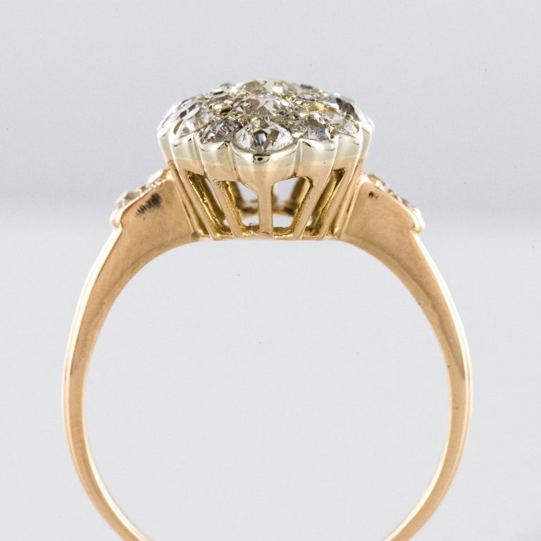 Antique 1.80 Carat Diamonds 18 Karat Yellow White Gold Marquise Ring For Sale 2