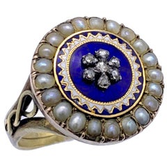 Antique 1800 Georg III Orient Pearls Diamond Flower Sun Enamel Gold Silver Ring