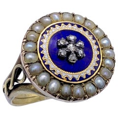 Antique 1800 Georg III Orient Pearls Diamond Flower Sun Enamel Gold Silver Ring