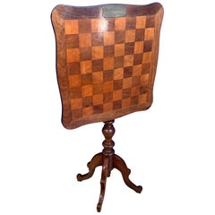 Antique 1800s Mahogany and Nutwood Tilt-Top Chess Table with Stunning Patina