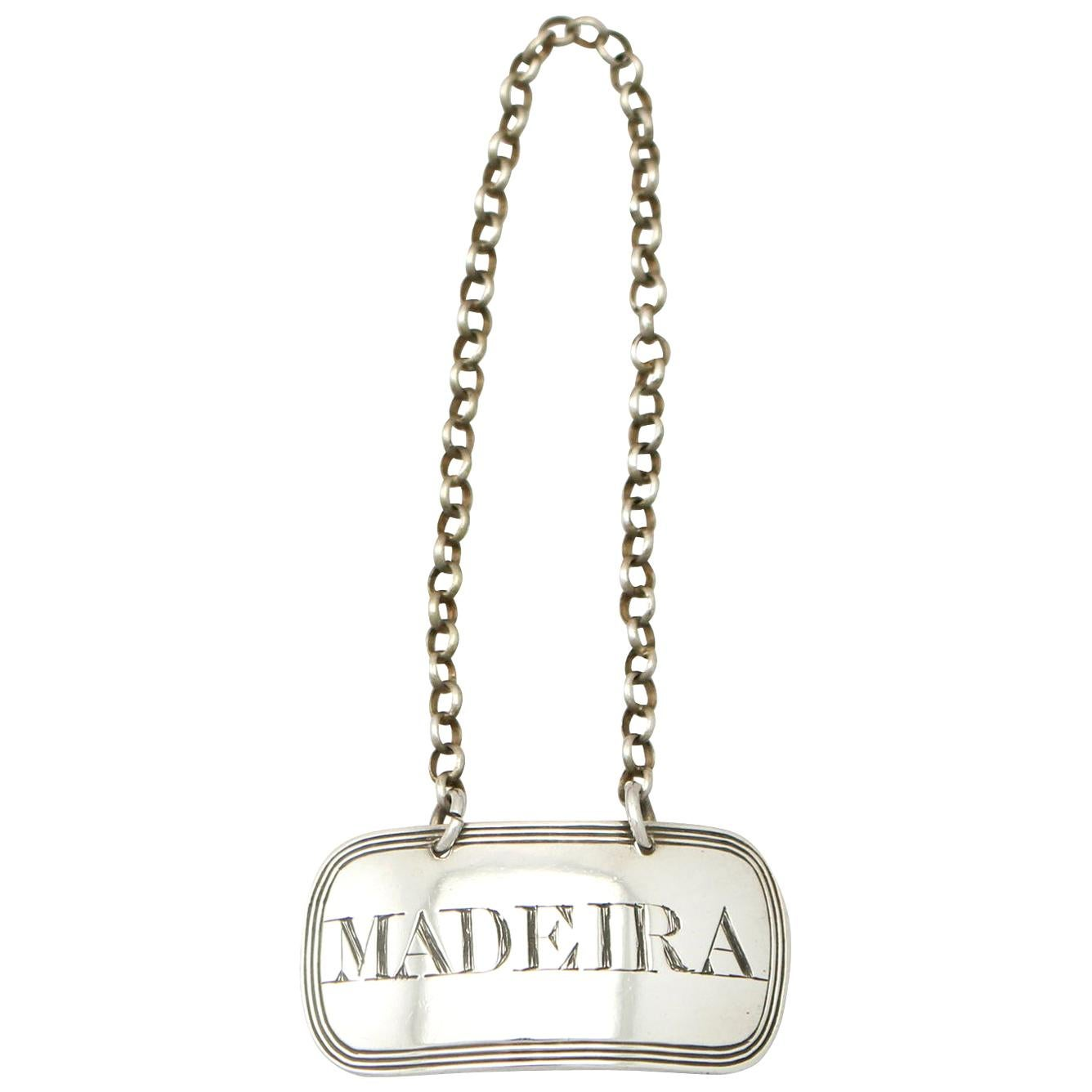 Antique 1819 Newcastle Sterling Silver 'Madeira' Decanter Label or Bottle Ticket