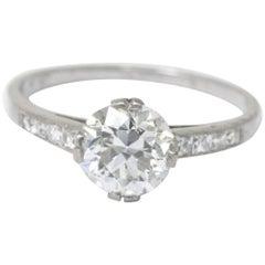 Antique 1.82 CTW Diamond Platinum Engagement Ring GIA