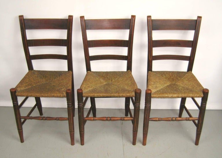Great set of six paint decorated rush seat chairs. True antique primitive  pieces that came - Antique 1820s Set Of Six Ladder Back Rush Seat Paint Decorated
