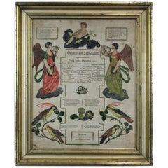 Antique 1822 German Johann Ritter & Co Taufscheine Birth Certificate Lithograph