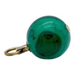 Antique 1825 English Watch Key Pendant Malachite Ball Silver Gilt Metal