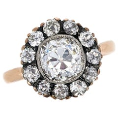 Antique 1.83 Carat Old Mine Cut Diamond Cluster Gold Engagement Ring