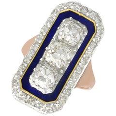Antique 1830s 4.39 Carat Diamonds Blue Enamel and Rose Gold Cocktail Ring