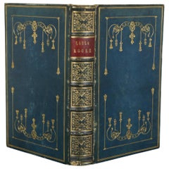 Antique 1832 Lalla Rookh Oriental Romance Thomas Moore Blue Leather Bound Book
