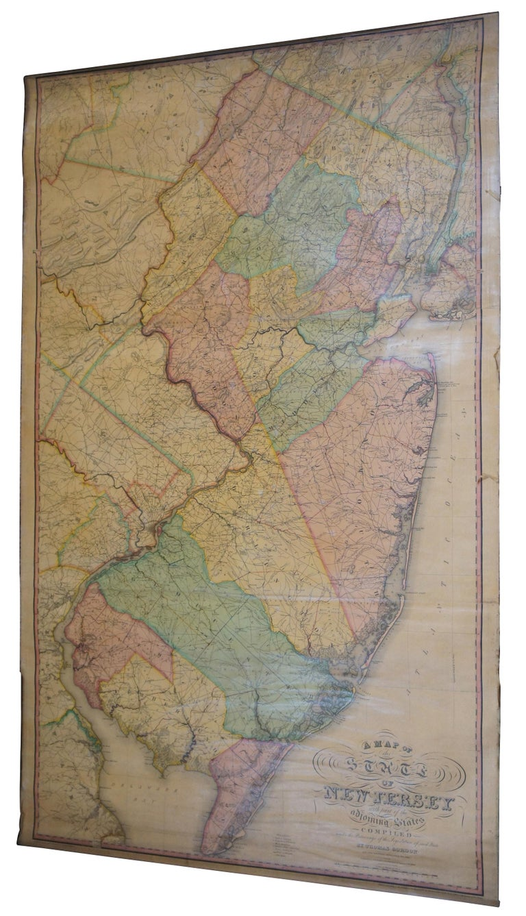 Victorian Antique 1833 Thomas Gordon Map of The State of New Jersey H.S. Tanner For Sale