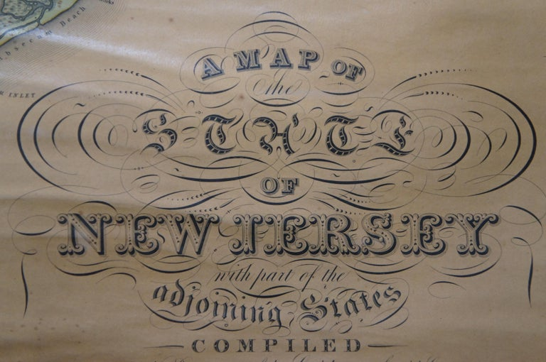 19th Century Antique 1833 Thomas Gordon Map of The State of New Jersey H.S. Tanner For Sale