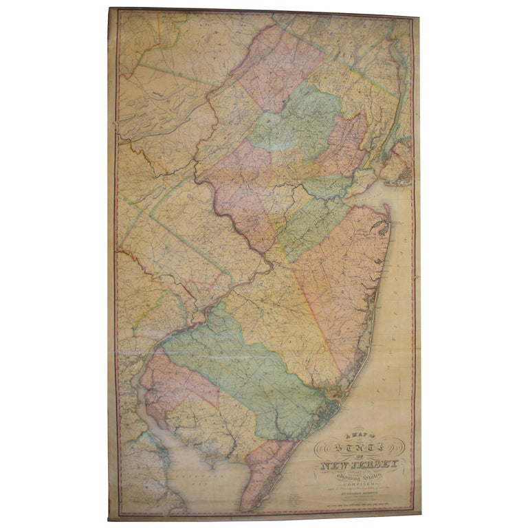 Antique 1833 Thomas Gordon Map of The State of New Jersey H.S. Tanner For Sale